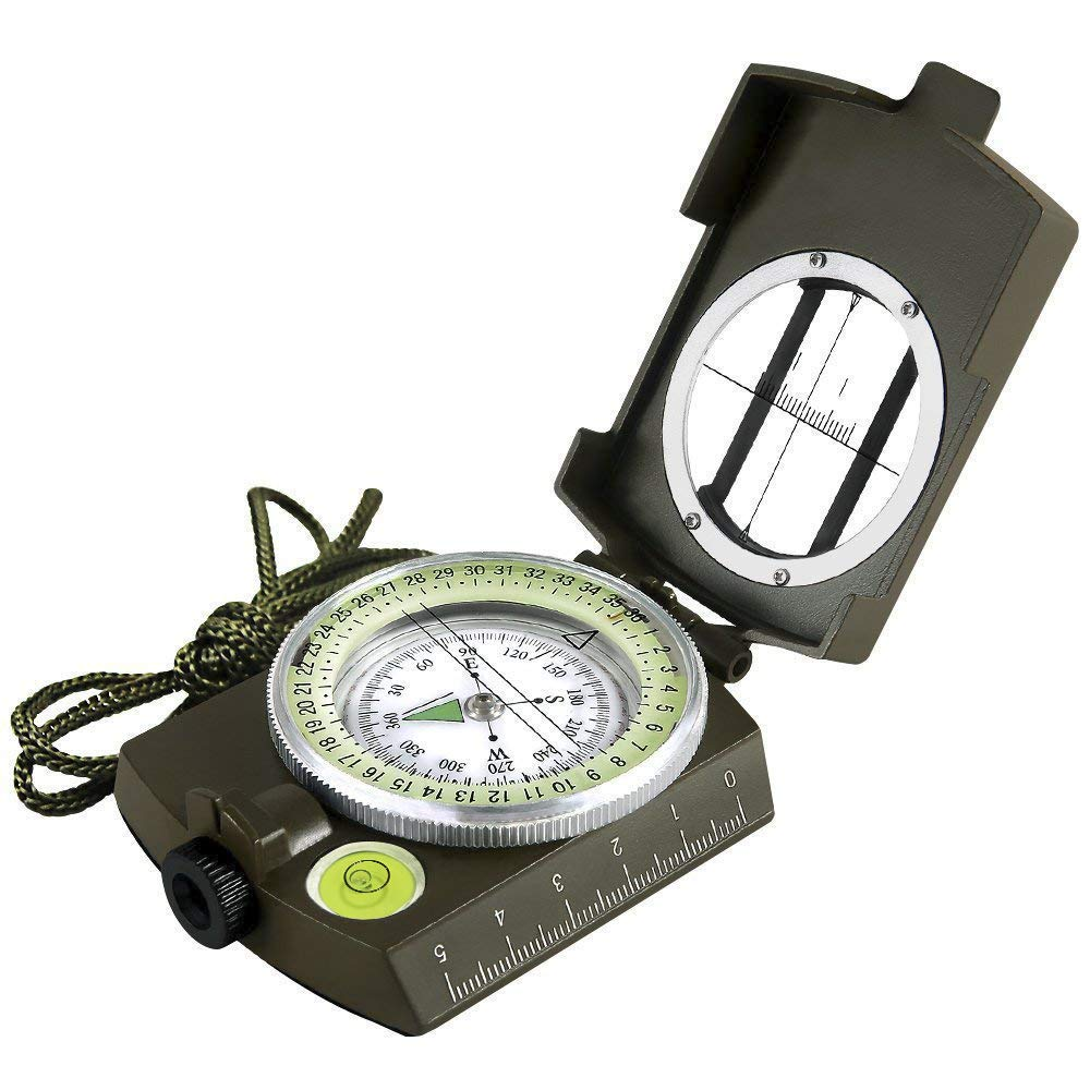 Eyeskey Multifunctional Military Army Aluminium Alloy Compass with Map Measurer Distance Calculator